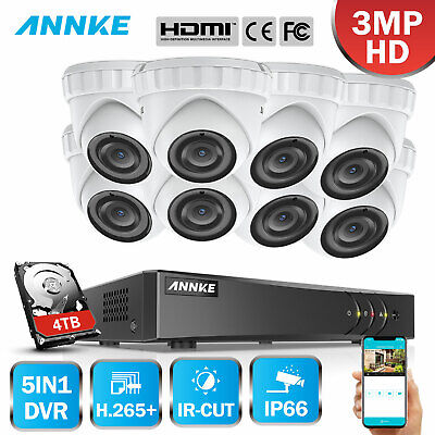 ANNKE Real 3MP Security Camera System 4CH 8CH DVR CCTV 5IN1 H.264+ Cloud Storage