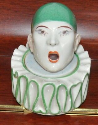 Antique ART DECO Hand painted ALADIN BECQUEREL Pierrot INKWELL FRENCH porcelain