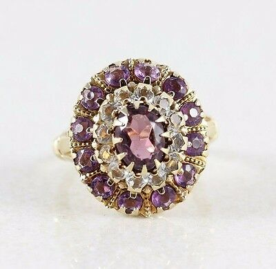 10k Gold Antique Purple Glass Simulated Amethyst Ring Size 5 3/4 Art Deco