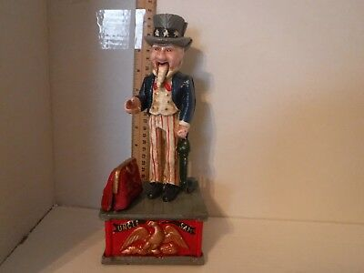 Cast-Iron Uncle Sam Mechanical Bank 1970's 1980's 1990's??  Real Nice Bank Works