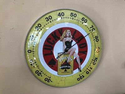 Lucky Lady Motor Oil Can Thermometer Gas Pump Sign Lubester Vintage Look