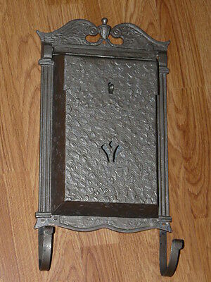Very Nice Vintage Cast Aluminum Old Mail Box Mailbox with Newspaper Hooks