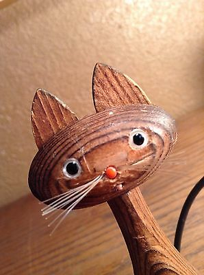Vintage Mid Century Wooden Witco Style Sitting Cat Small