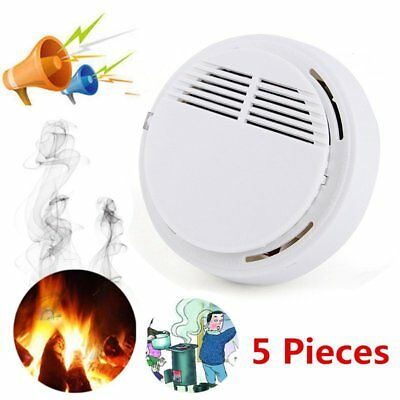 5 PCS Photoelectric Smoke Alarm Fire Detector Sensor System Security + Battery