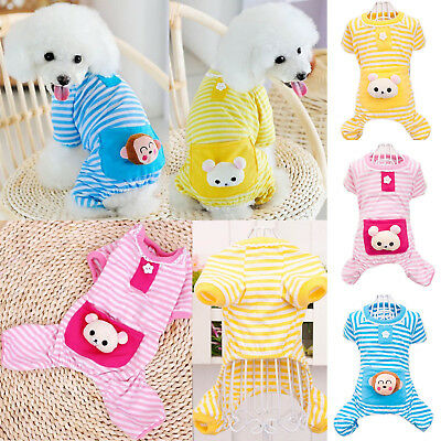 NEW Cute Pet Dog Puppy Bear Stripe Pajamas Coat Clothes Apparel Costume Jumpsuit