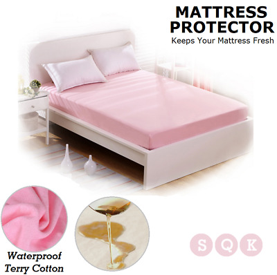 Fully Fitted Waterproof Cotton Mattress Protector Pillow Sheet Cover All Sizes