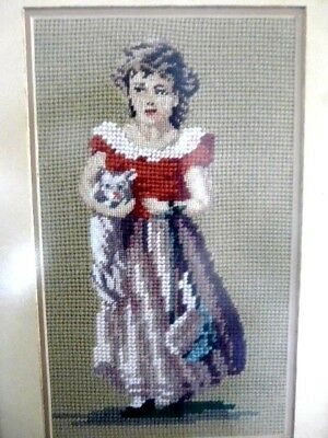 Vintage Victorian Finished Needlepoint Wall Tapestry Framed Art Girl Cat