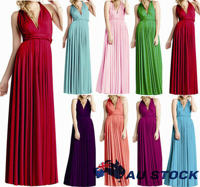 Womens Convertible Infinity Long Maxi Dress Bridesmaid Evening Party Prom Gown