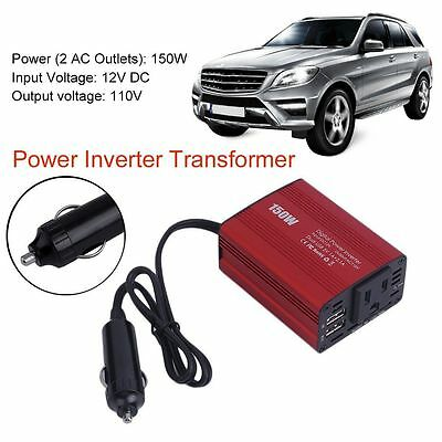 150W Car Power Inverter DC 12V to AC 110V Converter With 2 USB Ports EC