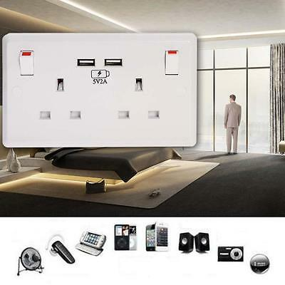 USB 13A 2Gang White Double Socket Electric Wall Plug Sockets With 2USB Outlet VB