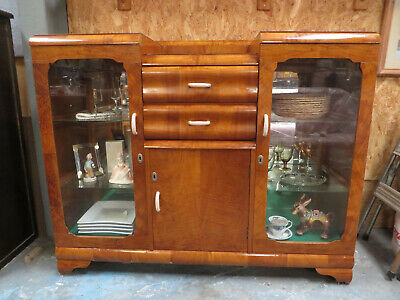 Vintage Retro Hallway Display Cabinet, Buffa, With Glass Shelving And Mirror on