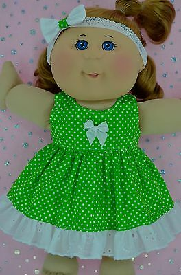 "Play n Wear Doll Clothes For 14"" Cabbage Patch LIME POLKA DOT DRESS~HEADBAND"