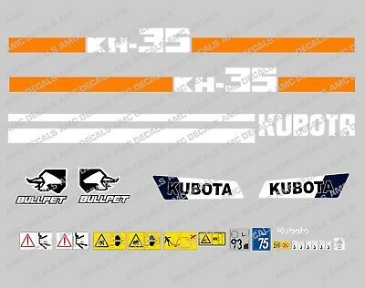 Kubota Kh35 Mini Digger Complete Decal Sticker Set With Safety Warning Signs