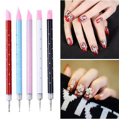 5Pcs Nail Art Dual-ended Carving Sculpture Painting Pen Silicone Dotting Tool