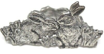 Vintage Set of 10 Silver Figural White Hare Napkin Rings Easter
