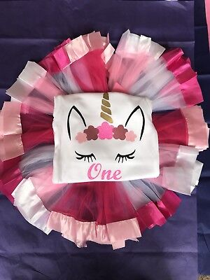 Baby Girls Personalised 1st 2nd Birthday Unicorn Top Tutu Outfit Pink One 1 2