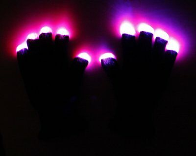 Raver Blacked Out Gloves RGB LED Mittens Light Show Gloves 7 Colors