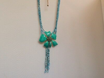 Vintage stunning blue enamel pendant on gold with turquoise and cut glass beads