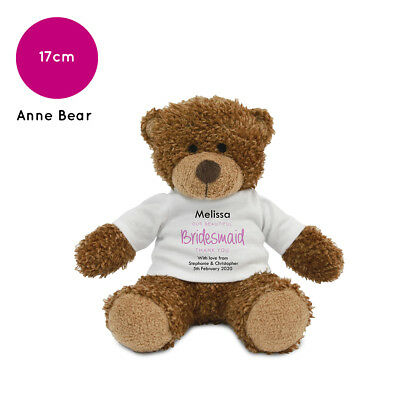 Personalised Name Bridesmaid Anne Teddy Bear Wedding Favour Thank You Gift