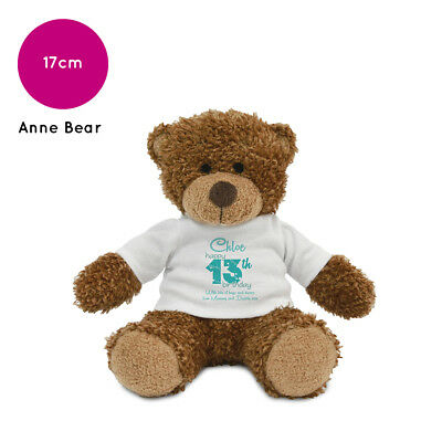 Personalised Name Birthday Anne Teddy Bear Present Gifts Ideas for Boys Girls
