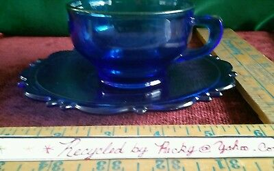 L. E. Smith cobalt blue glass Mount Pleasant cup and saucer
