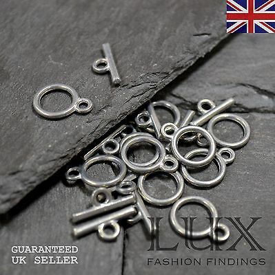 30 x Small Antique Silver Plated Bar and Hoop Toggle Ring Sets Jewellery Making