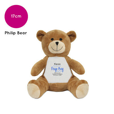 Personalised Name Page Boy Philip Teddy Bear Wedding Favour Thank You Gift