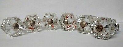 LOT OF 6 VINTAGE Clear Glass Knobs Drawer Pulls Door  1""