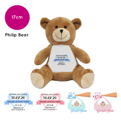 """Personalised Name Christening Philip 10"""" Teddy Bear Soft Toy Gift Baby Boy Girl"""