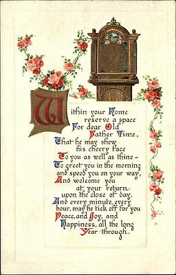 Father Time Grandfather Clock poem Old English lettering Birn Brothers Publ~1913