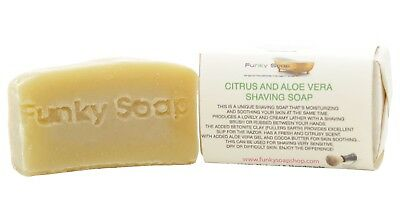 1 piece Citrus & Aloe Vera Shaving Soap Bar, 65g, 100% Natural Handmade