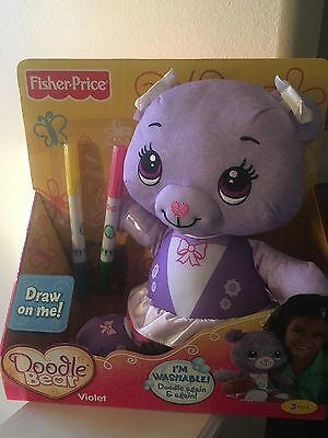 FISHER PRICE ROSE DOODLE BEAR Purple NEW markers washable draw on me VIOLET