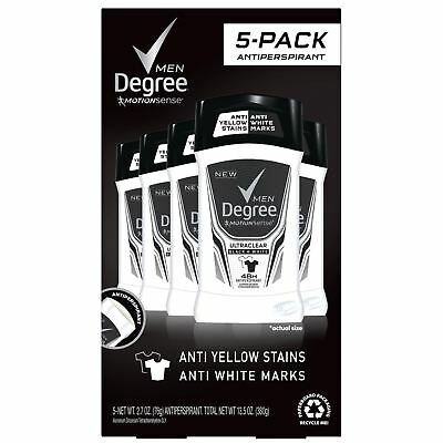 Degree Men Ultra Clear Black+White Solid Antiperspirant Deodorant 2.7oz 5 pack