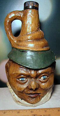 "wine bottle figural head composition over glass ALWA Italy vintage 9"" two faced"