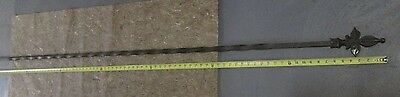"Antique 92.5"" Wrought Iron Fleur-De-Lis Design Curtain Rod From Tudor Home # 21"