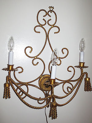 Fabulous Mid-Century Retro Iron Gilt 2 Arm Wall Lights Chandelier Rope Tassels