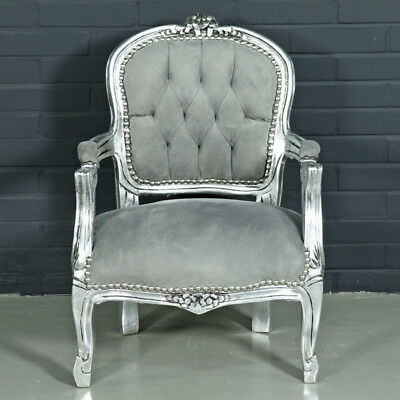 Children Baroque Style Chair Silver / Grey  # F11Mb45