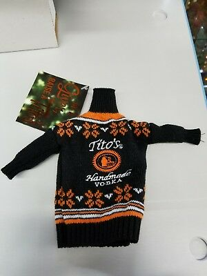 Tito's Handmade Vodka Ugly Sweater Bottle Cover From  750 ml Bottle New w Tags