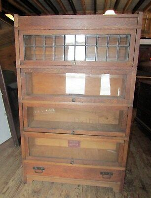 Globe Wernicke Stacking Barrister Lawyers Oak Mission Bookcase