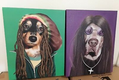 "2 Empire Art Pets Rock  High Resolution Printed on Canvas, LARGE 20""X16""X2""."
