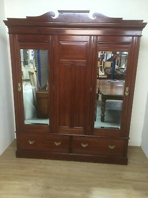 Victorian Solid Walnut Large Double Wardrobe
