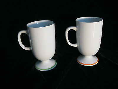 Set 2 Decorative Footed Mugs With Bird Motif - Made In Japan