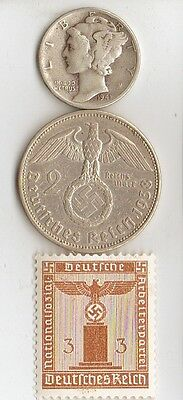 - *WW2   -  *us - *Mercury  Dime   and   *german      coin  and  stamp