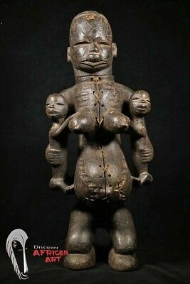 "Makonde Maternity Statue with Two Infants 31"" - Tanzania - African Art"