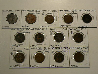 Great Britain 1806 to 1934 Halfpennies  1/2 Penny  Lot of 13 #G8558