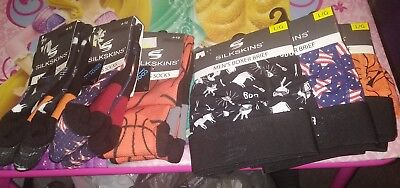 Lot of Mens Silkskins boxers with matching socks large