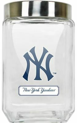 New York Yankees Jar Glass Canister Large Container With Lid Duckhouse MLB
