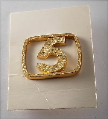 Vintage Gold Plated Brass Rectangle  #5  NUMBER FIVE  LAPEL PIN NEW OLD STOCK