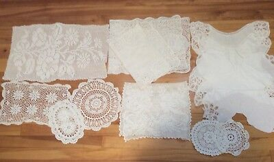 Lot Of 12 Pieces Vintage Assorted White Linens Doilies Runners Crochet Lace
