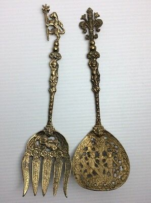 Vintage Solid Brass Ornate Cherubs Spoon & Fork Set Made In Italy Wall Hanging